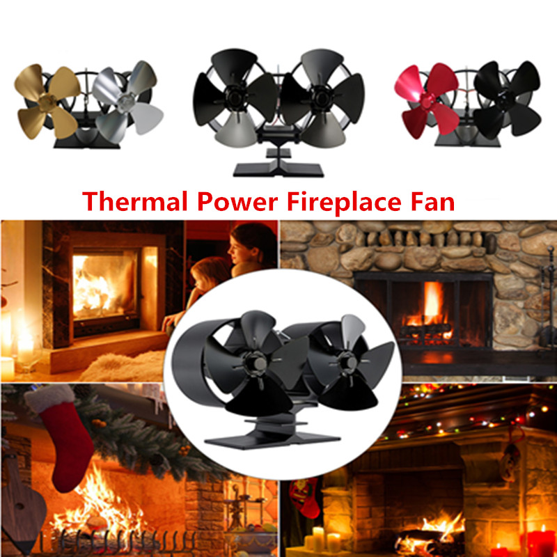 Twins 8 Blades Heat Powered Stove Fan Wood/Log Burner Stove Fan Eco Friendly Thermal Power Fireplace Fan Fireplace Accessories