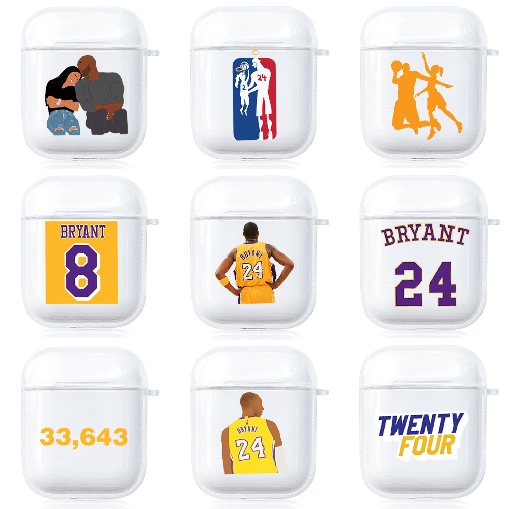 Kobe Bryant Case For Airpods 2 1 Soft Silicone Transparent Case Black Mamba Earphone Cover Protective Headset Shockproof Cover