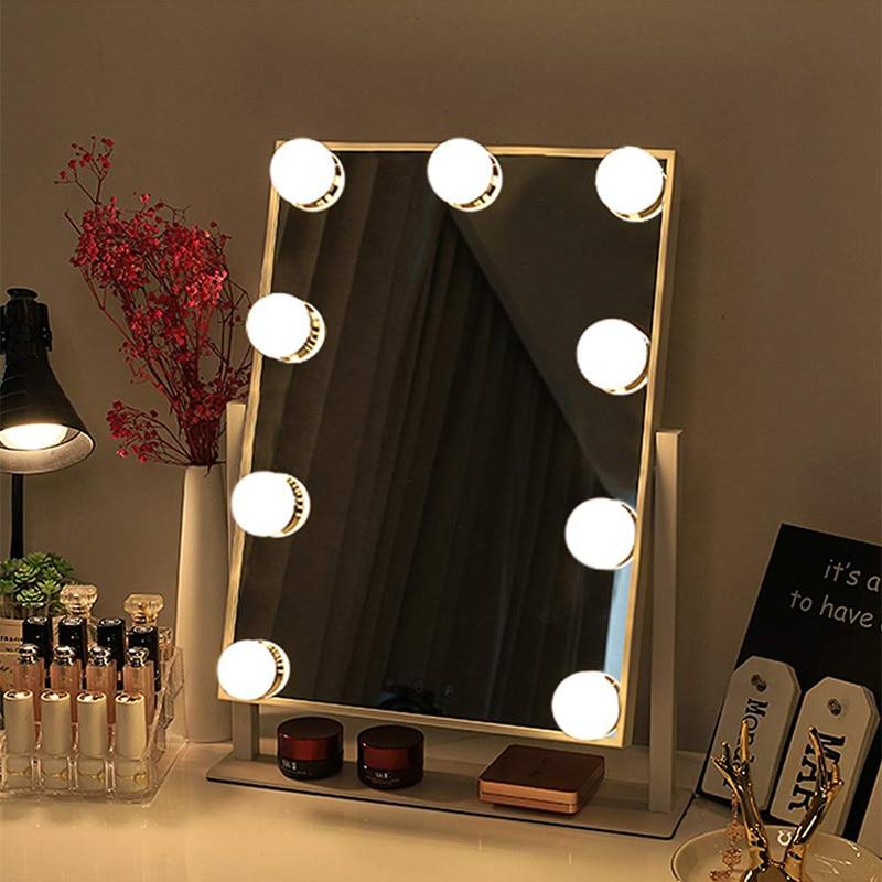 Голливудское зеркало для макияжа с подсветкой, туалетное зеркало с 9x3 Вт, лампы с регулируемой яркостью, Косметический Настольный сенсорный...