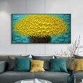 Современная Абстрактная Большая Золотая картина ручной росписи с изображением денежных деревьев, цветов, 3d картина маслом на холсте, домаш...