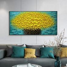 Moderno pintado à mão abstrata grande ouro dinheiro árvore flor 3d pintura a óleo sobre tela decoração da casa parede arte imagem para sala de estar