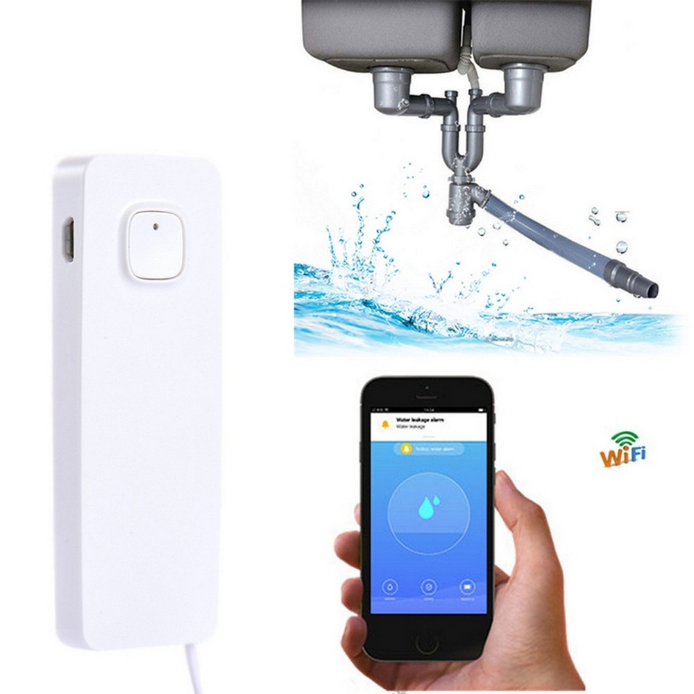 Smart Home Tuya Water Leak Alarm WIFI Water Detection Sensor Real-Time Free App Control Intelligent Life IOS Android Monitoring