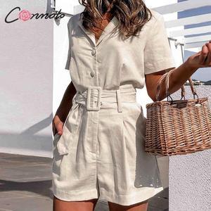 Image 2 - Conmoto כפתור חגורת עניבת קיץ plusysuits romper נשים סיבתי פשתן חוף playsuits romper לבן חוף קצר סרבל romper