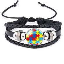 Autism My Child Is Autistic Bracelets Superhero Autism Asperger Buckle Leather Bracelet AUTISM MOM Jigsaw Bracelet купить недорого в Москве