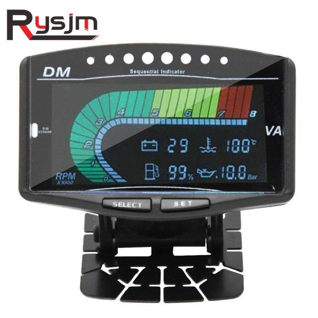 12 فولت 24 فولت سيارة شاحنة LCD الرقمية النفط قياس ضغط فولت الفولتميتر مقياس درجة حرارة الماء معيار الوقود/مقياس سرعة الدوران 5 وظيفة في 1