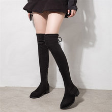 JIANBUDAN Flat heel sexy Womens thigh high boots 2020 new Flock autumn lace up stretch Winter plush over the knee