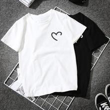 Femmes filles grande taille en forme de coeur impression t-shirts chemise à manches courtes chemise dames vêtements haut blanco hauts mujer hauts femme