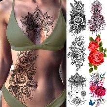 Fioletowa róża biżuteria woda Transfer naklejki z tatuażami kobiety Body Chest Art tymczasowy tatuaż dziewczyna talia bransoletka Flash tatuaże kwiat