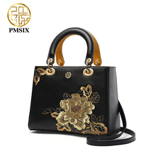 PMSIX Embroidery Gold Flowers Genuine Leather Women Handbag Famous Brand Shoulder Bags Luxury Cowhide Ladies Tote Bag