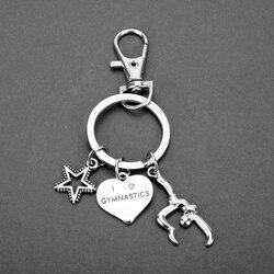 I Love Gymnastics Keychain Heart Gymnast Star Pendant Keyring Key Chain Sport Jewelry Porte Clef Accessories