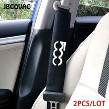 Cubierta de cinturón de seguridad para coche, accesorios de estilismo para Interior de coche, decoración para el hombro, emblema para Fiat 500 124 Abarth Punto 2 uds.