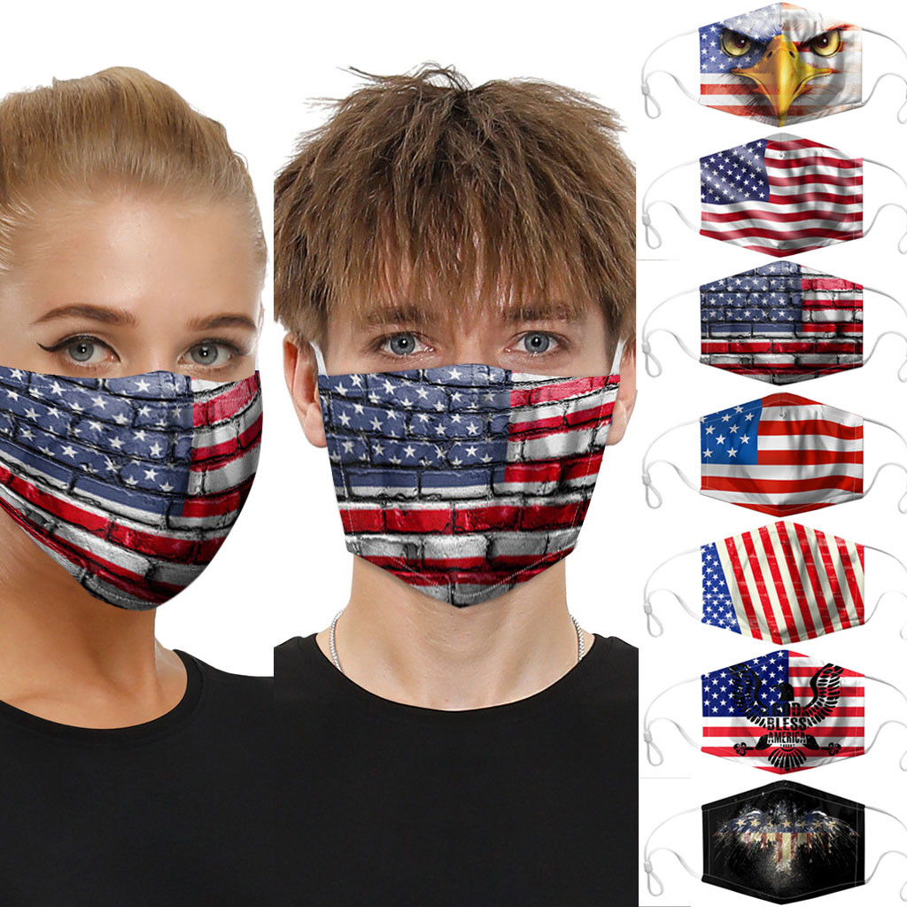 1PC Men Women Boy Girl Dustproof Cotton Face Cover Unisex Windproof Foggy Haze Anti-spitting Protective Cover Independence Day