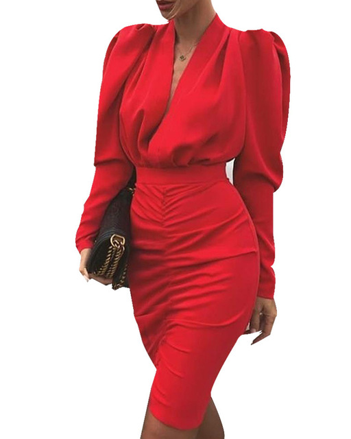 Europe and the United States new v-neck bubble long sleeve package hip fashion cultivate one's morality dress 5