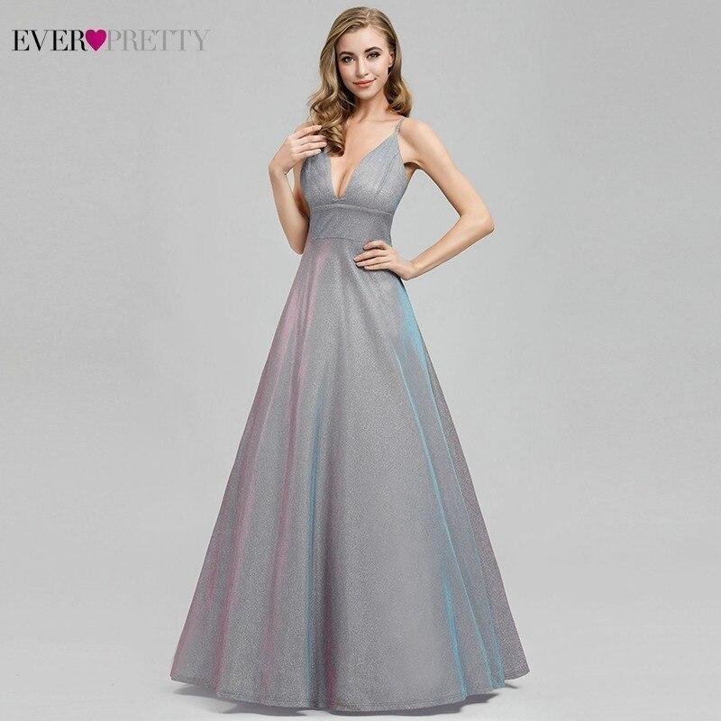 Sparkle Grey Prom Dresses Ever Pretty A-Line Deep V-Neck Spaghetti Straps Backless Sleeveless Sexy Formal Dresses Robe De Soiree