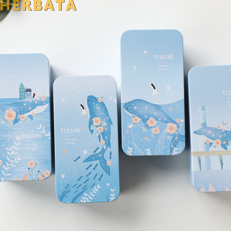 Student Double Deck Storage Box Tin Metal Stationery Estuche Multifunction Storage School Supplies Pencil Case Sea Pen Container