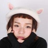 Original Cute Cat Ears Hats Handmade Wool Felt Berets Winter Knitted Women Hats Wild Painter Hat Birthday Gift Beret Ladies Caps