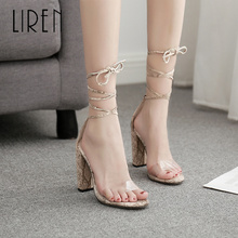 Liren 2019 Women Fashion Sexy Ankle Strap Lace-up Snake Pattern Crazy Style Sandal High Square Heels Sandals