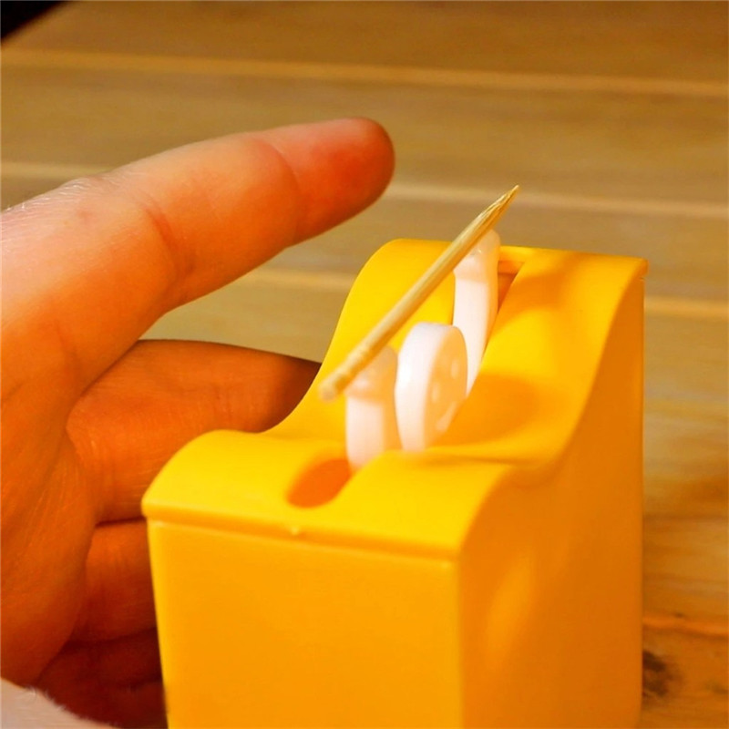 orange Portable Toothpick Storage Box Automatic Pression Creative ...