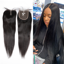 Lace Closure Virgin-Hair Human Straight Middle/free-Part 5x5