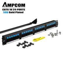 AMPCOM Supreme Series CAT6 Patch Panel, 50U Gold Plated, 1U 24-Port Rackmount or Wallmount Punch Down Panel