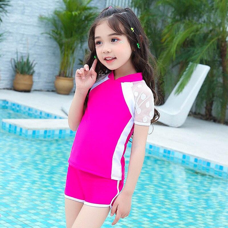 2018 Summer New Style Split Type Boxer Short Sleeve Little Girl KID'S Swimwear Cute GIRL'S Swimsuit NV