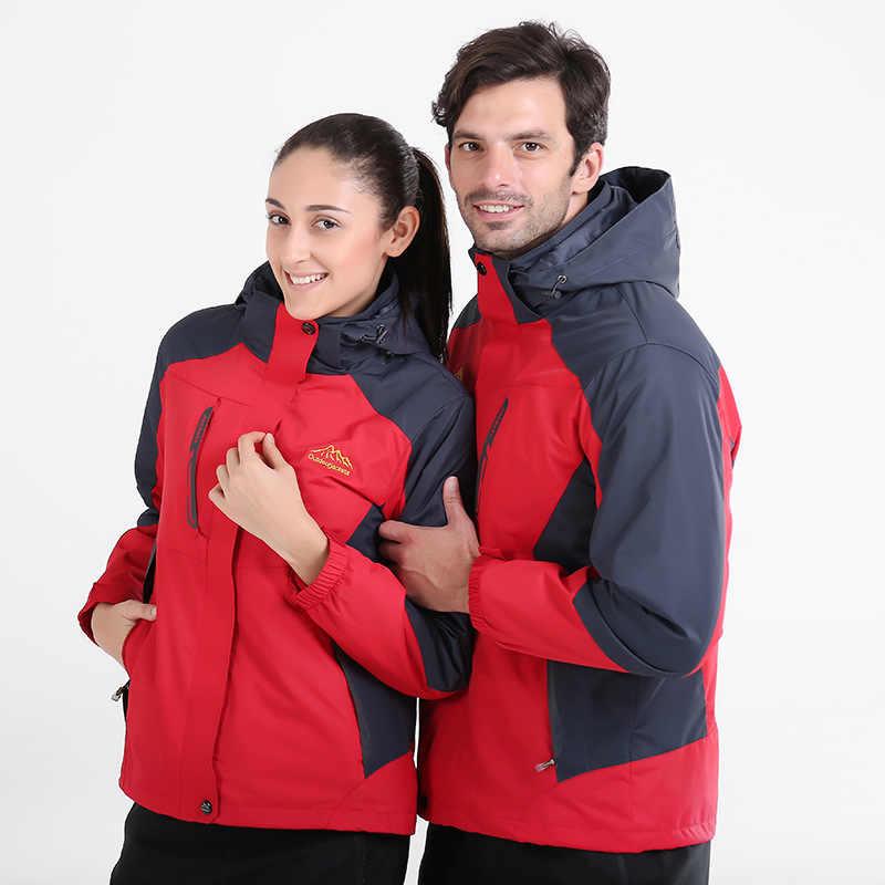 Couple's Kasual Seragam Sekolah Musim Semi dan Musim Gugur Hangat Jas Hujan Jaket Lengan Panjang Tahan Air Tahan Angin Luar Ruangan Olahraga Set