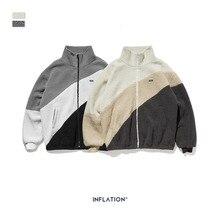 YUECHEN/Осенняя Молодежная мужская новая свободная Ретро уличная куртка из овечьей кожи с толстыми отворотами и карманами, контрастный цвет, полиэстер