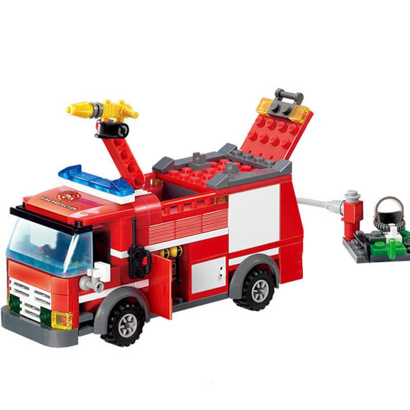 Новый город пожарная станция Legoes строительные блоки наборы пожарная машина истребитель кирпичи для тележки Playmobil игрушки для детей