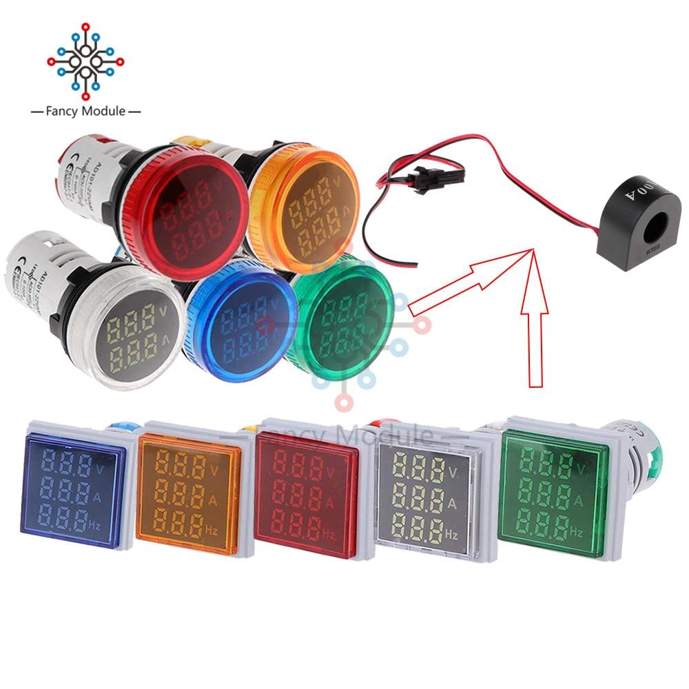 Diymore 22mm Square/Circle LED Voltmeter Ammeter Hertz Meter AC 50-500V 0-100A 20-75Hz Amp Volt Frequency Indicator With Coil