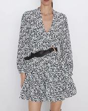Printed Mini Dress Women V-Neck Pleated Puff sleeve Autumn Ladies ZA New style