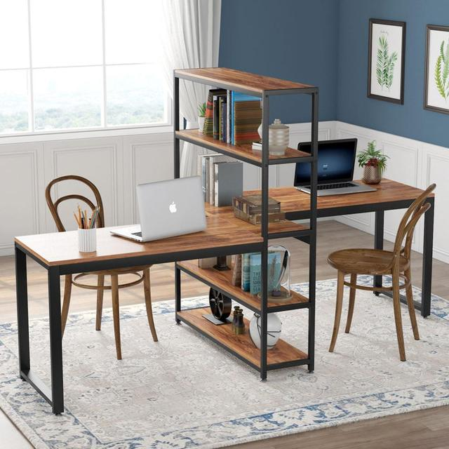 Two Person Computer Desk with Bookshelf 1