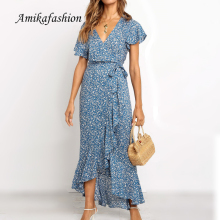 Summer Long Maxi Dress Women Casual Boho Floral Print Chiffon Beach Dress Sexy V-neck Ruffles Bodycon Wrap High Slit Party Dress random floral print maxi dress with slit design