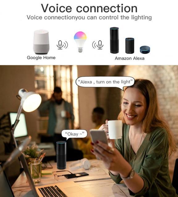E27 B22 Rgb Led Lamp Verlichting 9W 110V 220V Lampada Verwisselbare Kleurrijke Cct Led Lamp Voice Afstandsbediening controle Werk W/Alexa Google Thuis