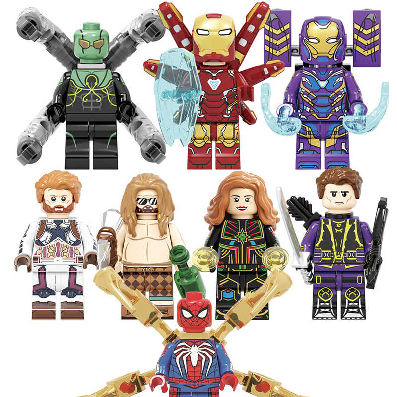 Marvel Iron Man Mark 85 Thor Doctor Octopus Punisher Pepper Capitán América muñecos de Spiderman juguetes para niños bloques de construcción