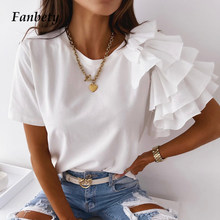2021 Women Shirts Fashion Ruffle Short Sleeve Design Blouse Elegant O-Neck Solid Top Office Lady Casual Loose Pullover Blusa 2XL