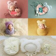 3 개/대 신생아 사진 소품 담요 모자 아기 사진 랩 소품 곰 인형 아기 사진 액세서리