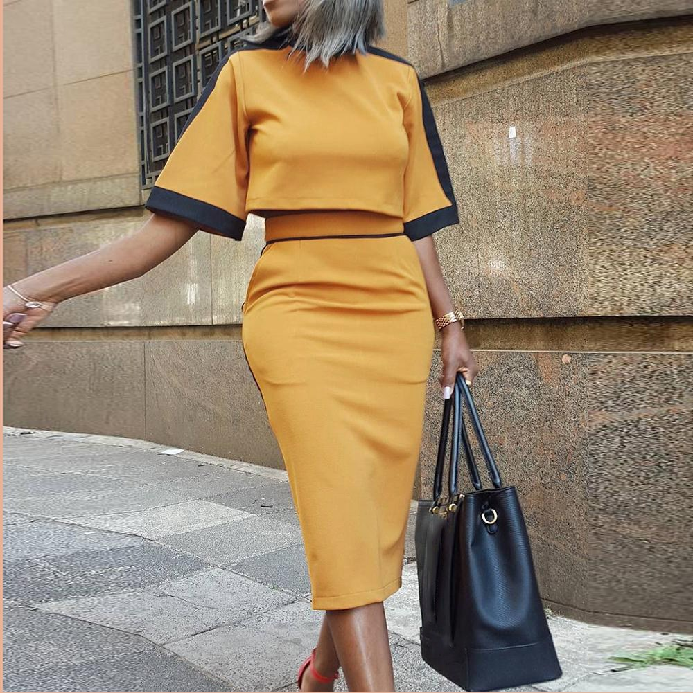 Women Two Piece Matching Sets Print Short Sleeve Top T-Shirt & Striped Midi Skirt Sets Pockets Casual Suits
