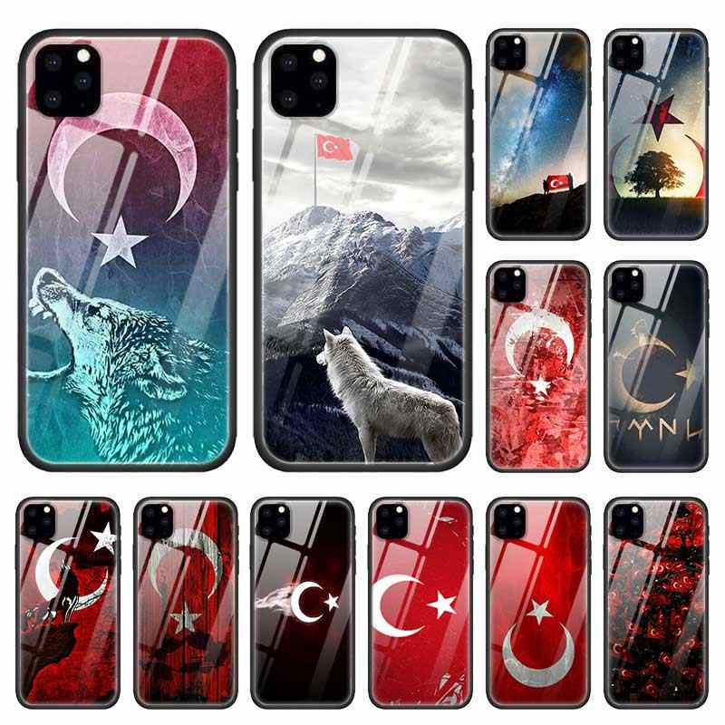 Turki Turkish Flag Case untuk Apple iPhone 12 11 Pro XR X Max X 7 8 6 6S Plus kaca Tempered + Hitam Silicone Phone Cover Coque