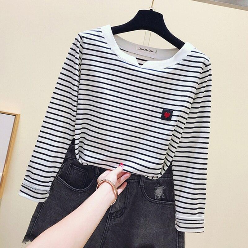 Gkfnmt-Camiseta informal para mujeres, camiseta de manga larga de estilo coreano, Camiseta básica ajustada de algodón, Top, ropa para mujer, camiseta para mujer de otoño e invierno
