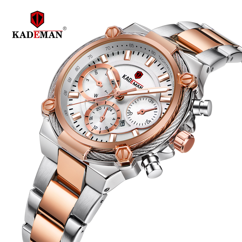 Kademan Full Steel Luxury Ladies Wristwatches TOP Quality Brand Design Women Watches 3ATM 2019 New Fashion Female Business