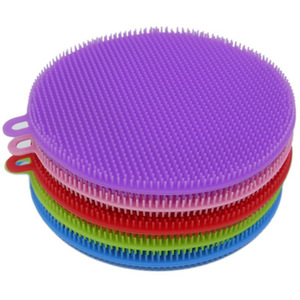 Image 5 - Creative Silicone Dishwashing Sponge Brush Multifunctional Round Silicone Brush Fruit Antibacterial Kitchen Cleaning Pad