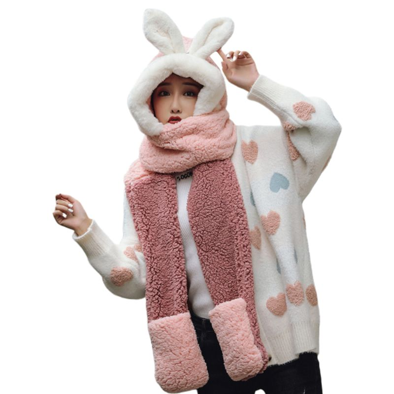 Girls 3 In 1 Hat Gloves Scarf Stitching Color Adorable Rabbit Ear Hoodie Earflap C6UD