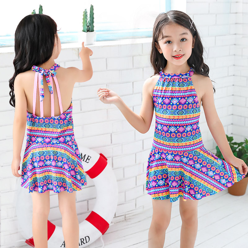 Ethnic-Style Children Bathing Suit Skirt One-piece Swimming Suit Girls Hot Springs Small Middle And Large GIRL'S Tour Bathing Su