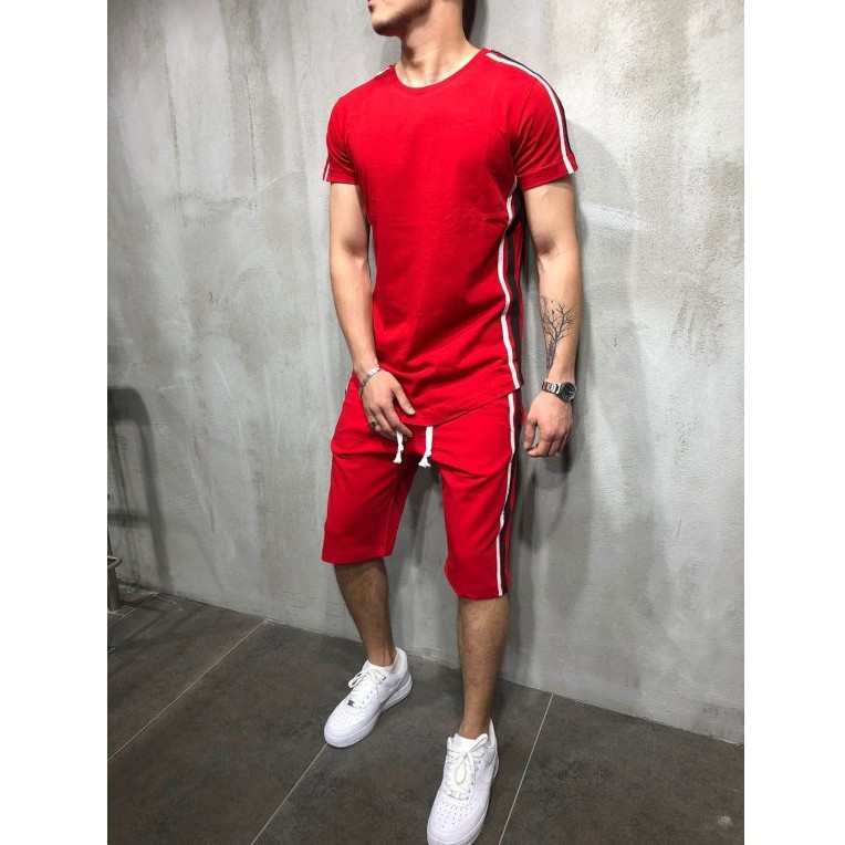 Hip-hop Shorts  Sweat T-shirt   Men's  Simple And Short Sportswear  Mens Jogger Sets  Elastic Waist Sportswear