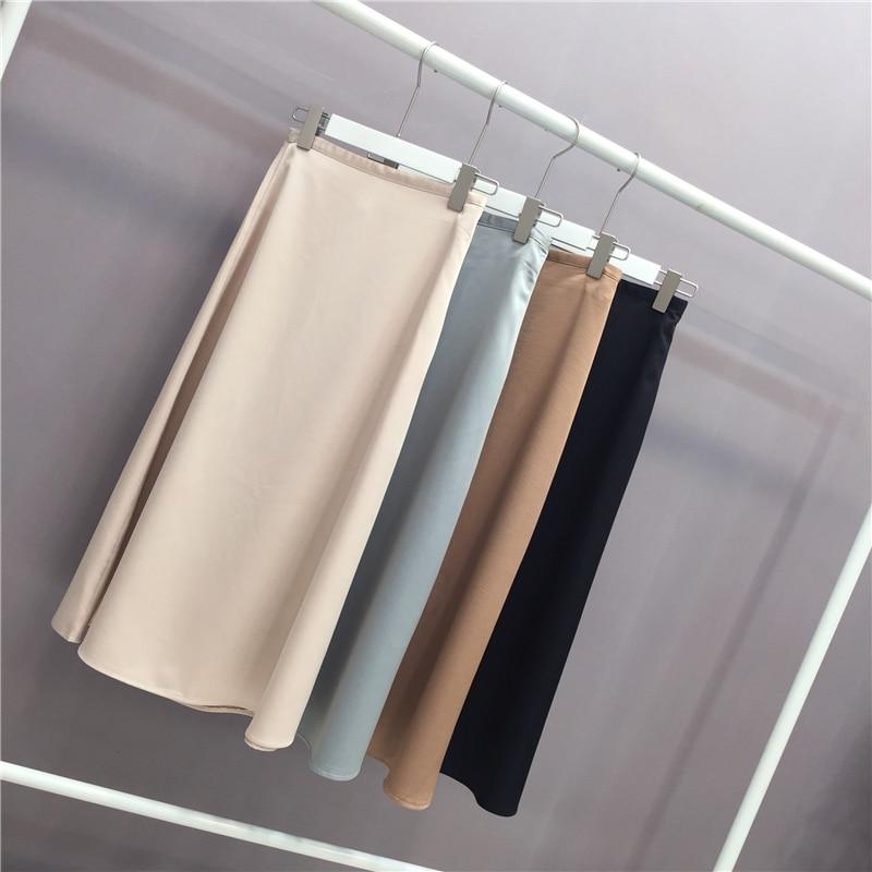 Women Elegant OL Skirt Ladies Glossy Satin Skirt Plain Shiny  Fashion Party Office Skirts Solid  High Waist Skirts