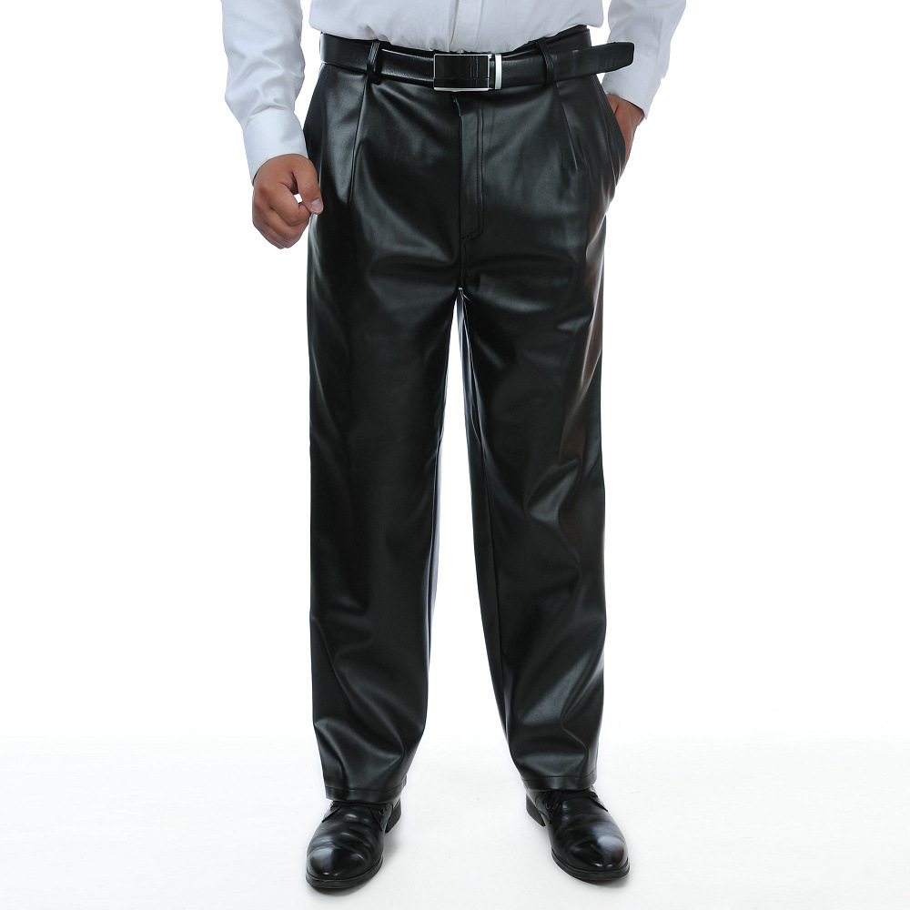 Men Leather Pants Spring And Autumn Men's Large Size Middle-aged Men Casual Spring And Autumn Middle-aged Straight-Cut Loose-Fit