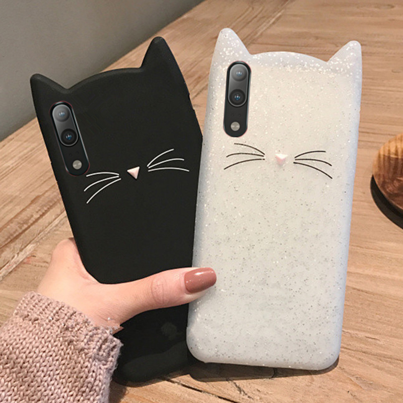 3D Cartoon Cat Ears Soft Silicone Case For Huawei P30 Lite P20 Pro Mate 20 20x 10 Cover For Huawei Y6 Prime 2018 Y7 Y5 Y9 2019