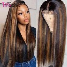 Perruque Lace Front Wig brésilienne naturelle – Tinashe, cheveux lisses, blond miel, 4x4, avec Closure, rouge, à reflets