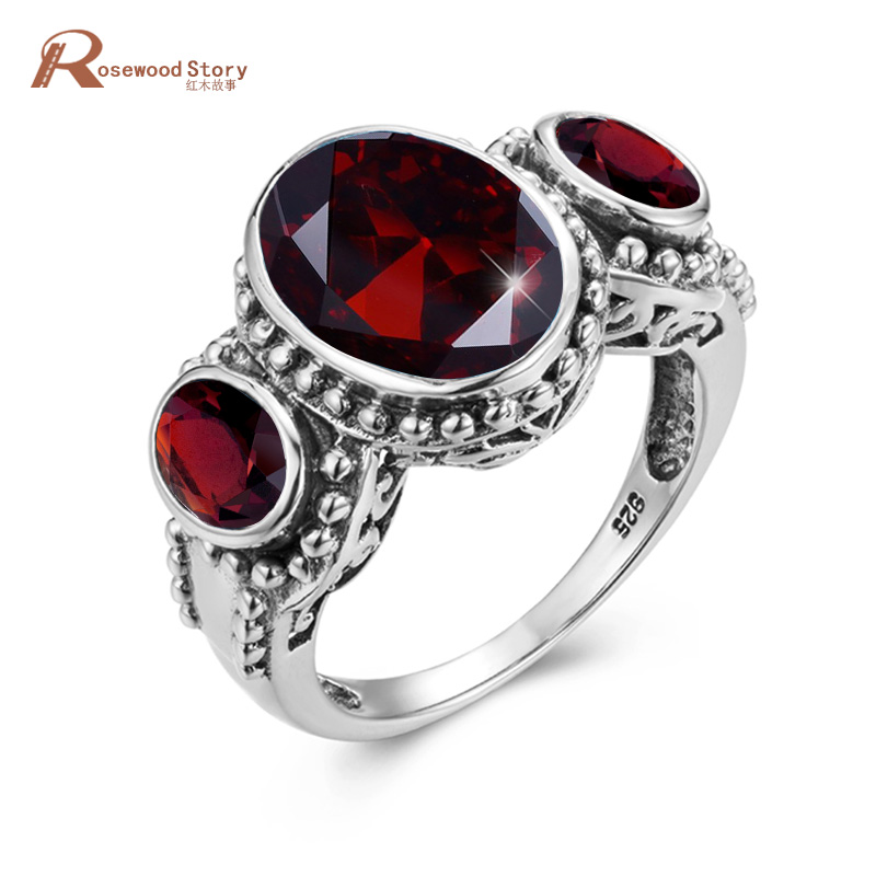 Red Stone Sterling Silver Rings 925 Garnet Gemstones White Gold Ring For Women Platinum Trendy Oval Fine Jewellry High Quality