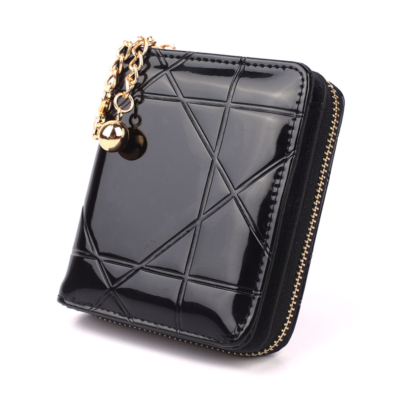 Factory Wholesale Cheap Price Fashion Women Wallet Short Model Tassel Patent Leather Zipper Coin Ladies Purse